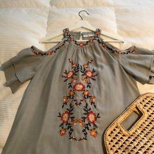 Green Embroidered Cold Shoulder Dress